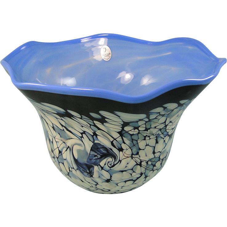 Fenton Glass Blue Black Bowl Frank Workman Ocean Fantasy