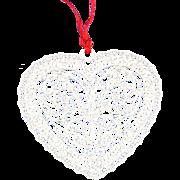 Opelle Glass Heart Ornament Avita Corning in Red Box