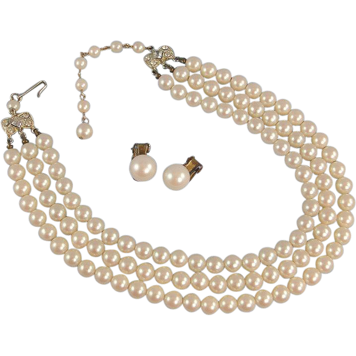 Vintage Faux Pearl Necklace 3 Strand With Clip Earrings Fortune Gallery Of Collectibles Ruby Lane