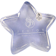 Fenton Crystal Star Paperweight Glass Engraved Logo