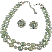 Vintage Seafoam Beads Crystal Necklace with Clip Earrings
