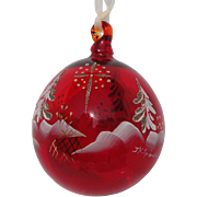 Fenton Star Bright Ruby Ornament Blown Glass Limited Edition Spindler