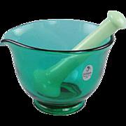 Fenton Glass Mortar and Pestle Emerald Green Jade