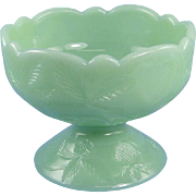 Mosser Jadeite Candy Nut Dish Glass Inverted Strawberry Pattern
