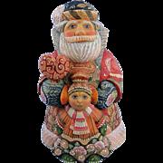 DeBrekht Santa Father Christmas with Girl Russian Folk Art