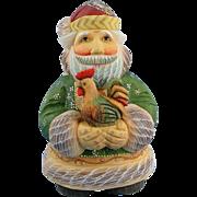 DeBrekht Santa with Rooster Good Morning Russian Folk Art