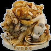 Harmony Kingdom Faux Paw Treasure Jest Box Figurine Lions