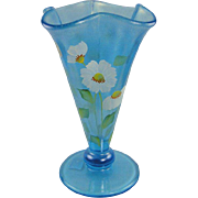 Fenton Celeste Blue Cloverleaf Vase Stretch Glass