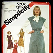 Vintage 1981 Sewing Pattern Simplicity 5206 - Jumper Dress, Three Sizes 20 1/2, 22 1/2 & 24 1/2, Bust 43-47, Uncut