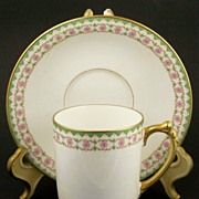 Elegant JPL (Jean Pouyat - Limoges) Gilded Chocolate Porcelain Cup & Saucer Set, Mint Green and Pink Rosette Trim, 1906-22