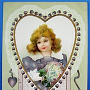 1909 Embossed Gilded Postcard, Little Girl in Lavender & Lace with Violets and Purple Hearts