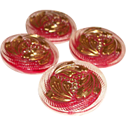 Vintage Glass Buttons Reverse Painted Bright Red with Gold Gilt (4 pcs) SALE!