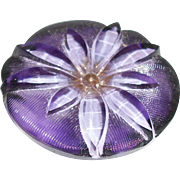 Vintage Reverse Painted Glass Button Purple Wildflower