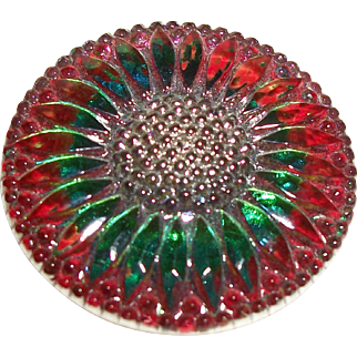 Vintage Reverse Painted Glass Button Garnet-Green Wildflower