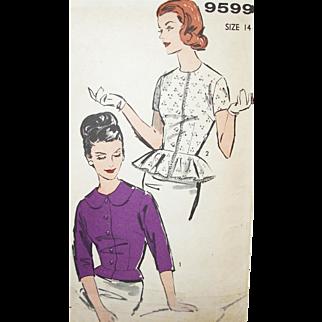 Vintage Sewing Pattern 1960s Peplum Blouses Uncut!