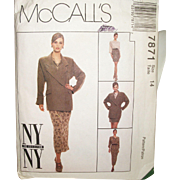 Vintage Sew Pattern NYNY Designer Collection Suit Size 14 Uncut