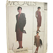 Vintage Pattern: Jones New York Dress or Jumper and Jacket Size 14 UNCUT