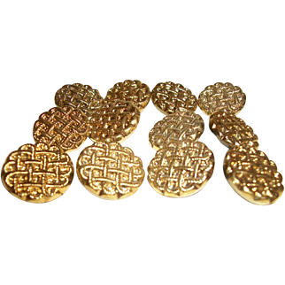 Vintage Glass Buttons Reverse Painted Gold-Metallic Set of 12