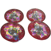 Vintage Glass Buttons, Reverse Painted Kaleidescope Colors Set of Four