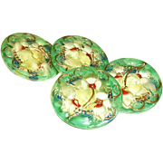 Vintage Glass Buttons, Reverse Painted Yellow and Green Set of 4