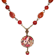 Artisan Alphonse Mucha Poppies Pendant and Red Agate Necklace Set