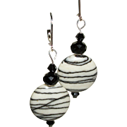 Artisan Silkstone and Crystals Earrings
