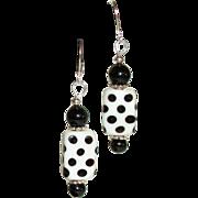 Artisan Polka-Dot Whimsical Lamp-work and Black Onyx Earrings