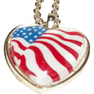 Artisan I Heart the Red, White, and Blue Pendant Necklace