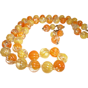 Vintage Orange-Yellow Lucite Necklace & Earrings Set