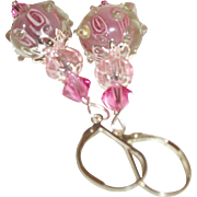 Artisan Pretty In Pink Lampwork  & Crystals Earrings