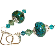 Artisan Chrysocolla and Swarovski Crystals Earrings