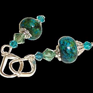 Artisan Chrysocolla and Swarovski Crystals Earrings