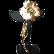 Vintage Gold-Plate Long Stem Flower Pin/Brooch