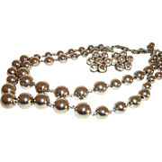 Vintage 2-Strand Shiny Silver-plate Beads Necklace & Earrings Set