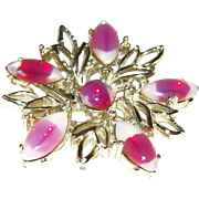 Vintage Triple-shades of Pink Glass Open-work Pin/Brooch