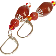 Artisan Faceted Red Agate & Swarovski Crystals Earrings