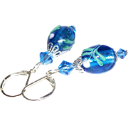 Artisan Sapphire Blue & Silver-Foil Core Lampwork Earrings
