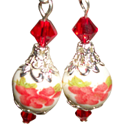Artisan Hand-Painted Flowers with Swarovski Crystals Earrings