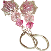Artisan In The Pink Layered Crystals & Lampwork Earrings