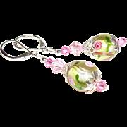 Artisan Watercolor Garden Lampwork Earrings