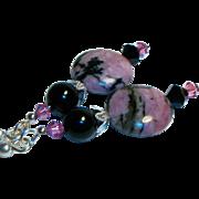 Artisan Rhodonite Coins and Black Onyx Earrings