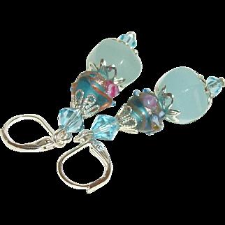Artisan Amazonite and Venetian Lampwork Earrings