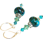 Artisan Chrysocolla Rondelles and Swarovski Crystals Earrings