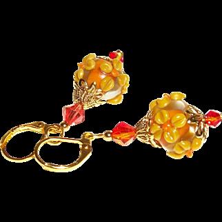Artisan Fabulous For Fall Glass Rondelles & Swarovski Crystals Earrings