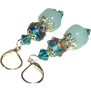Artisan Faceted Amazonite & Capri-Blue Venetian Glass Earrings
