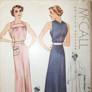 Vintage 1930s Dress & Swing Jacket Printed Sewing Pattern