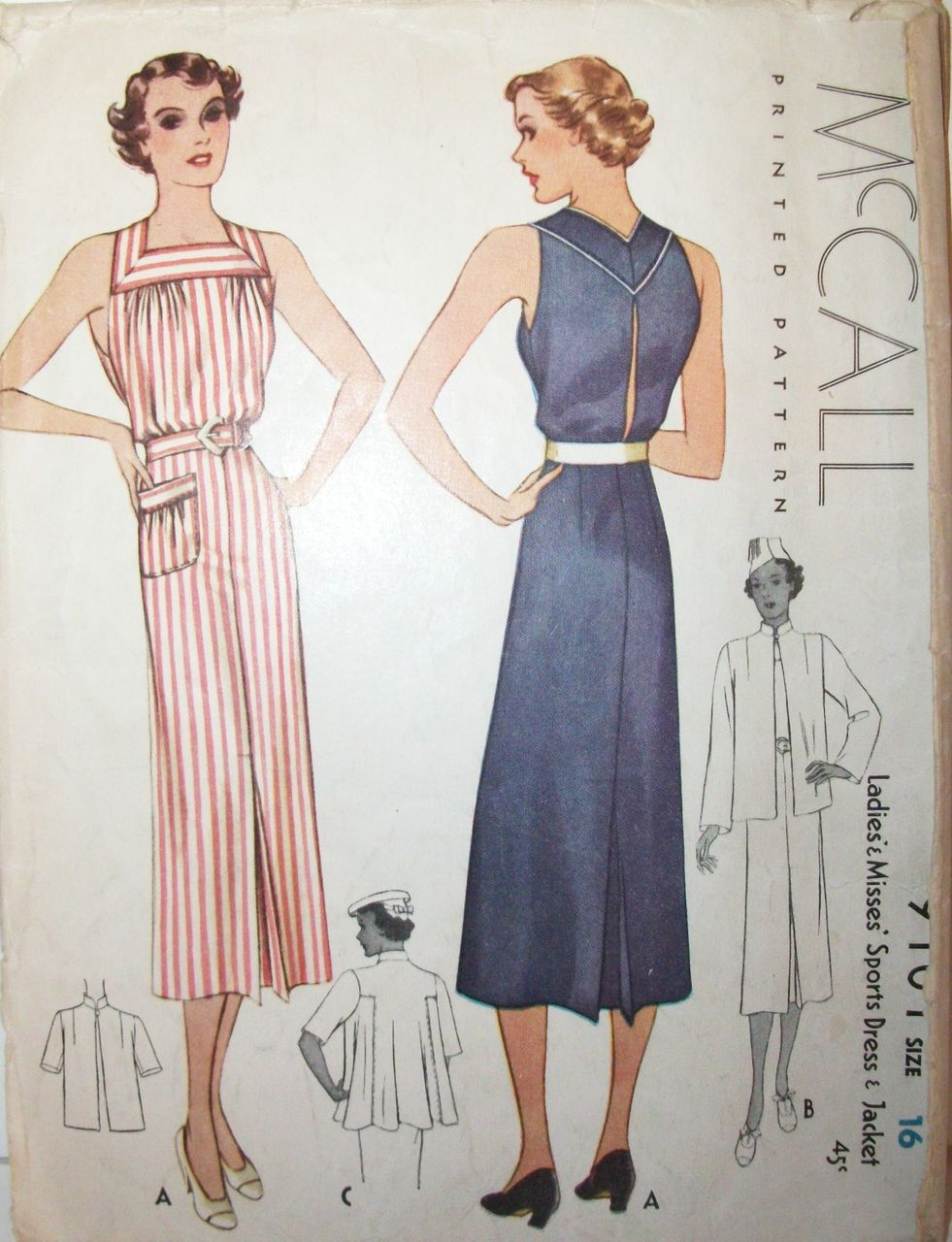 Vintage 1930s Dress & Swing Jacket Printed Sewing Pattern ...