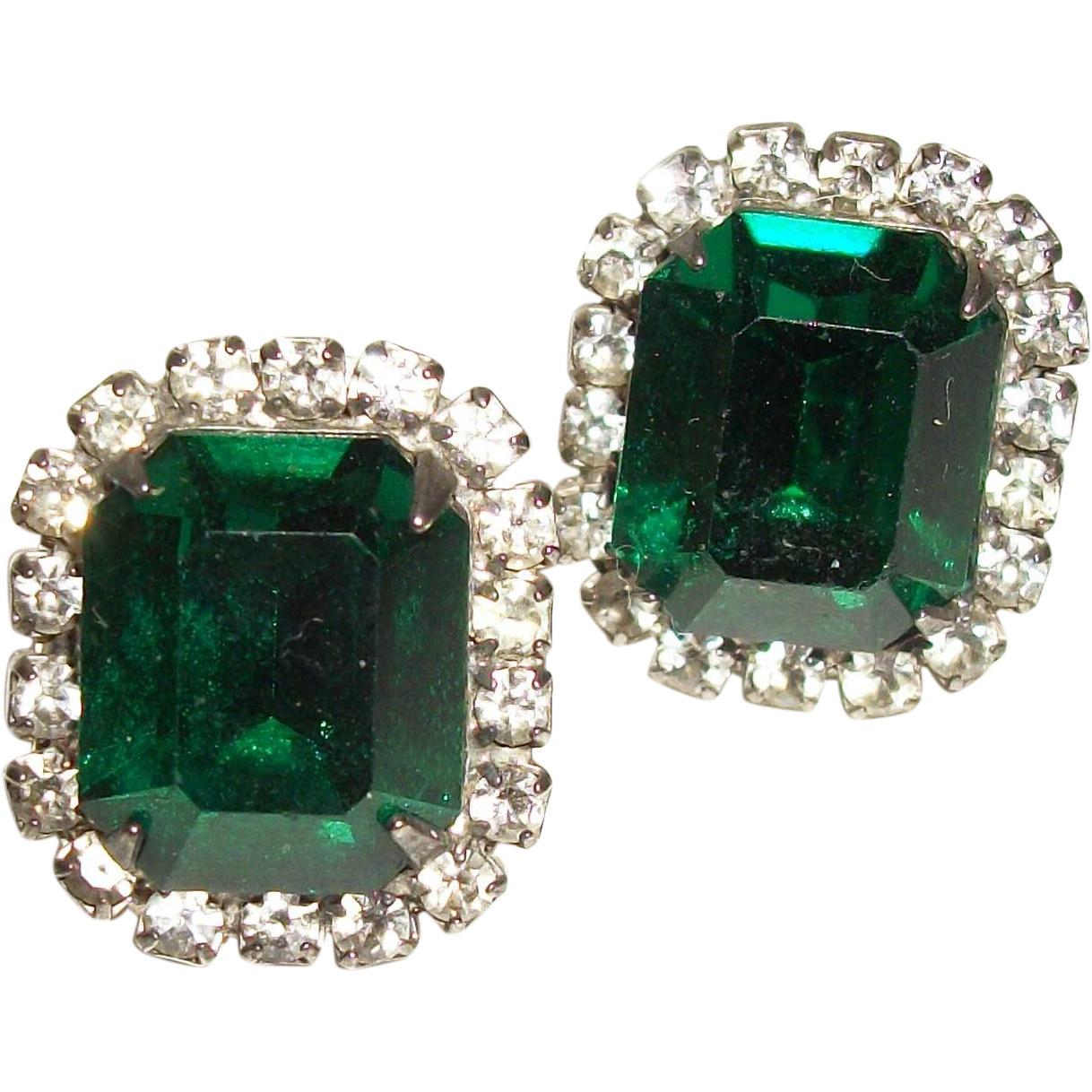 Vintage Emerald-Green Faceted Crystal Post Earrings from ...