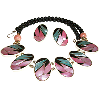 Vintage Abalone Slice Focal and Wood Beads Necklace and Earrings Set