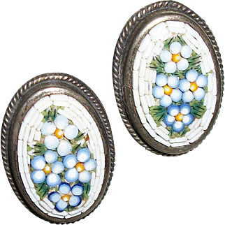 Vintage Micro-Mosaic Flower Earrings